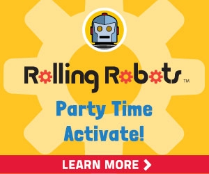 Rolling Robots Party Banner