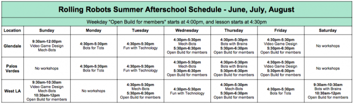Afterschool Schedule